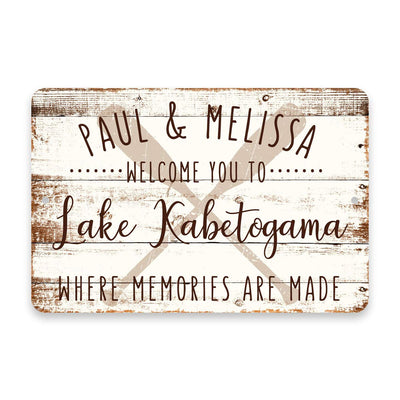Personalized Welcome to Lake Kabetogama Where Memories are Made Sign - 8 X 12 Metal Sign with Wood Look