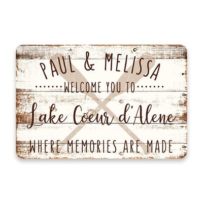 Personalized Welcome to Lake Coeur d'Alene Where Memories are Made Sign - 8 X 12 Metal Sign with Wood Look