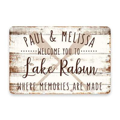 Personalized Welcome to Lake Rabun Where Memories are Made Sign - 8 X 12 Metal Sign with Wood Look