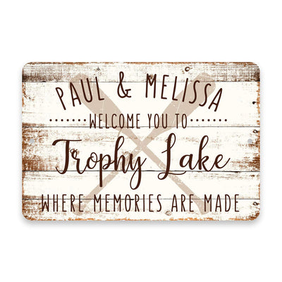 Personalized Welcome to Trophy Lake Where Memories are Made Sign - 8 X 12 Metal Sign with Wood Look