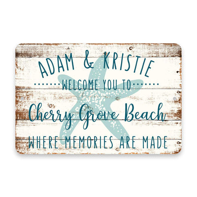 Personalized Welcome to Cherry Grove Beach Where Memories are Made Sign - 8 X 12 Metal Sign with Wood Look