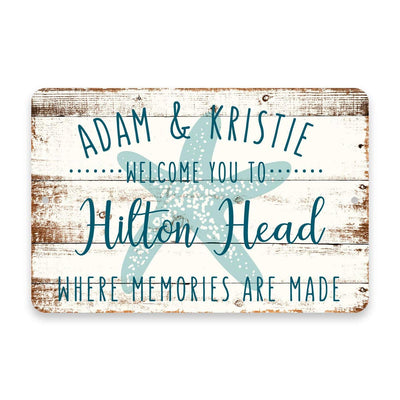 Personalized Welcome to Hilton Head Where Memories are Made Sign - 8 X 12 Metal Sign with Wood Look