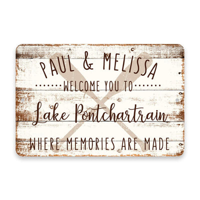 Personalized Welcome to Lake Pontchartrain Where Memories are Made Sign - 8 X 12 Metal Sign with Wood Look