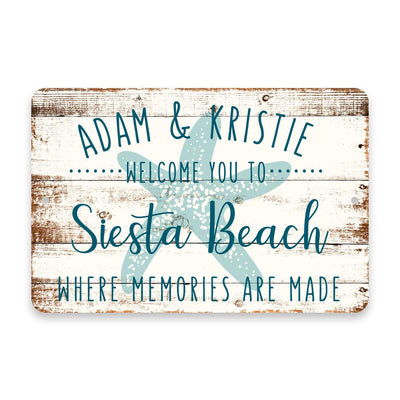 Personalized Welcome to Siesta Beach Where Memories are Made Sign - 8 X 12 Metal Sign with Wood Look