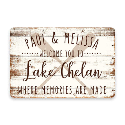 Personalized Welcome to Lake Chelan Where Memories are Made Sign - 8 X 12 Metal Sign with Wood Look