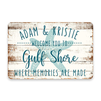 Personalized Welcome to Gulf Shores Where Memories are Made Sign - 8 X 12 Metal Sign with Wood Look