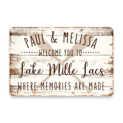 Personalized Welcome to Lake Mille Lacs Where Memories are Made Sign - 8 X 12 Metal Sign with Wood Look