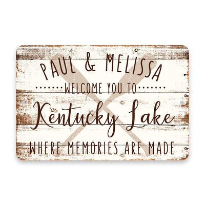 Personalized Welcome to Kentucky Lake Where Memories are Made Sign - 8 X 12 Metal Sign with Wood Look