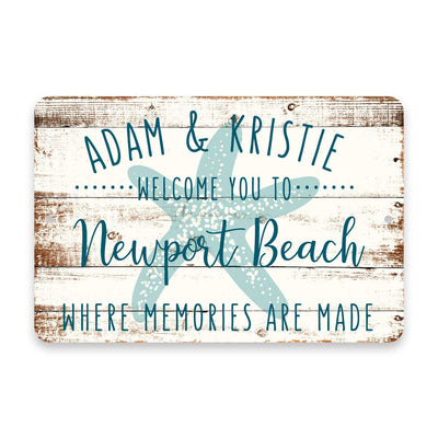Personalized Welcome to Newport Beach Where Memories are Made Sign - 8 X 12 Metal Sign with Wood Look