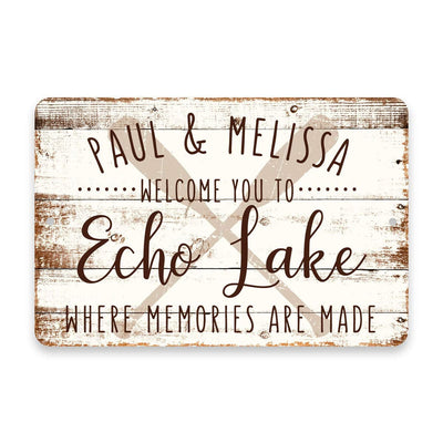 Personalized Welcome to Echo Lake Where Memories are Made Sign - 8 X 12 Metal Sign with Wood Look