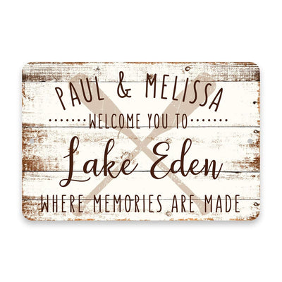Personalized Welcome to Lake Eden Where Memories are Made Sign - 8 X 12 Metal Sign with Wood Look