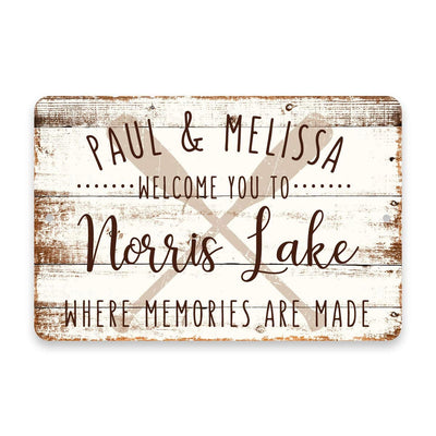 Personalized Welcome to Norris Lake Where Memories are Made Sign - 8 X 12 Metal Sign with Wood Look