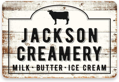Personalized Creamery Sign Milk Butter Ice Cream 8 x 12 Metal Sign