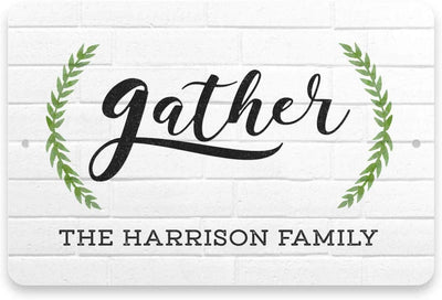 Personalized White Brick Look Gather Sign - Metal 8 X 12 Sign