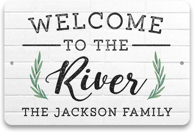 Personalized Welcome to The River Metal Sign 8 X 12