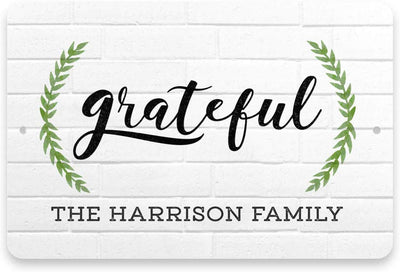 Personalized White Brick Look Grateful Sign - Metal 8 X 12 Sign