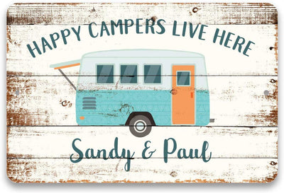 Personalized Happy Campers Live Here Metal Sign 8 X 12
