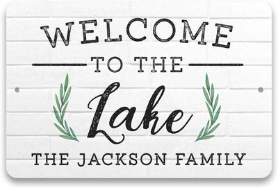 Personalized Welcome to The Lake Metal Sign 8 X 12