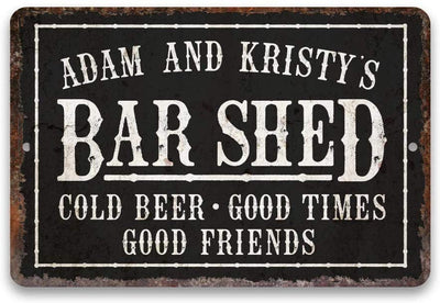 Personalized Vintage Distressed Look Bar Shed Metal Sign 8 X 12