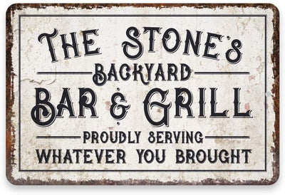 Personalized Vintage Distressed Look Bar & Grill Metal Sign 8 X 12