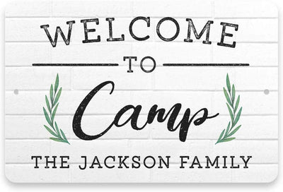 Personalized Welcome to Camp Metal Sign 8 X 12