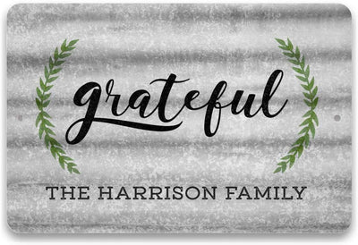 Personalized Metal Look Grateful Sign - Metal 8 X 12 Sign