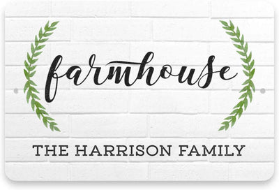 Personalized White Brick Look Farmhouse Sign - Metal 8 X 12 Sign