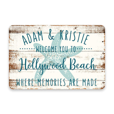 Personalized Welcome to Hollywood Beach Where Memories are Made Sign - 8 X 12 Metal Sign with Wood Look