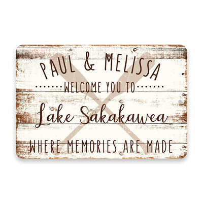 Personalized Welcome to Lake Sakakawea Where Memories are Made Sign - 8 X 12 Metal Sign with Wood Look
