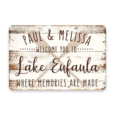 Personalized Welcome to Lake Eufaula Where Memories are Made Sign - 8 X 12 Metal Sign with Wood Look