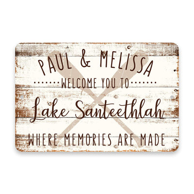 Personalized Welcome to Lake Santeethlah Where Memories are Made Sign - 8 X 12 Metal Sign with Wood Look