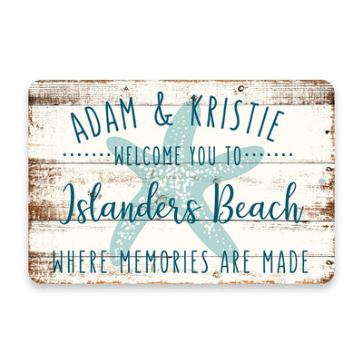 Personalized Welcome to Islanders Beach Where Memories are Made Sign - 8 X 12 Metal Sign with Wood Look