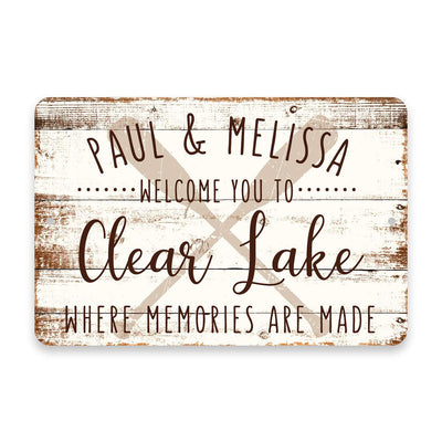 Personalized Welcome to Clear Lake Where Memories are Made Sign - 8 X 12 Metal Sign with Wood Look