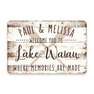 Personalized Welcome to Lake Waiau Where Memories are Made Sign - 8 X 12 Metal Sign with Wood Look