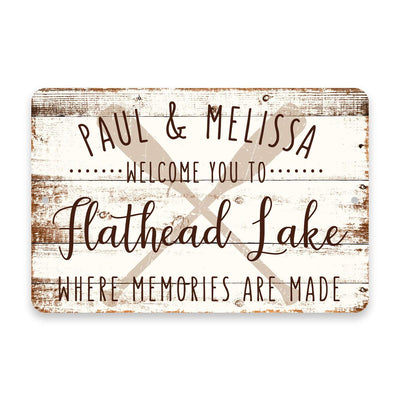Personalized Welcome to Flathead Lake Where Memories are Made Sign - 8 X 12 Metal Sign with Wood Look