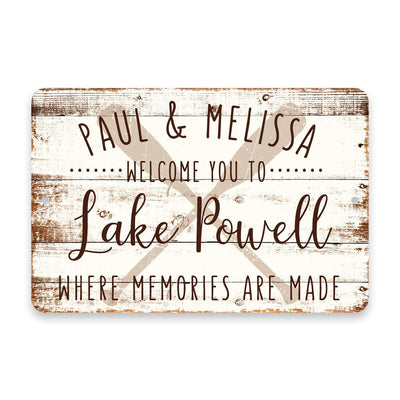 Personalized Welcome to Lake Powell Where Memories are Made Sign - 8 X 12 Metal Sign with Wood Look