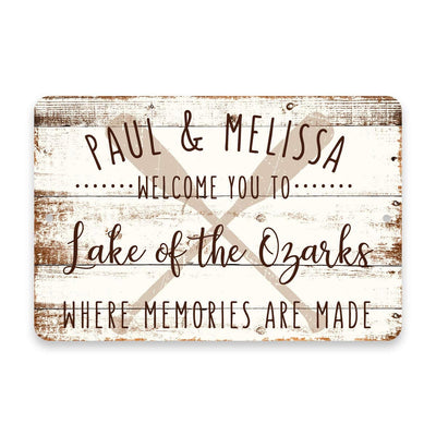 Personalized Welcome to Lake of The Ozarks Where Memories are Made Sign - 8 X 12 Metal Sign with Wood Look
