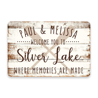 Personalized Welcome to Silver Lake Where Memories are Made Sign - 8 X 12 Metal Sign with Wood Look