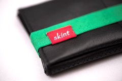 Skint Leather Wallet - Black/Green