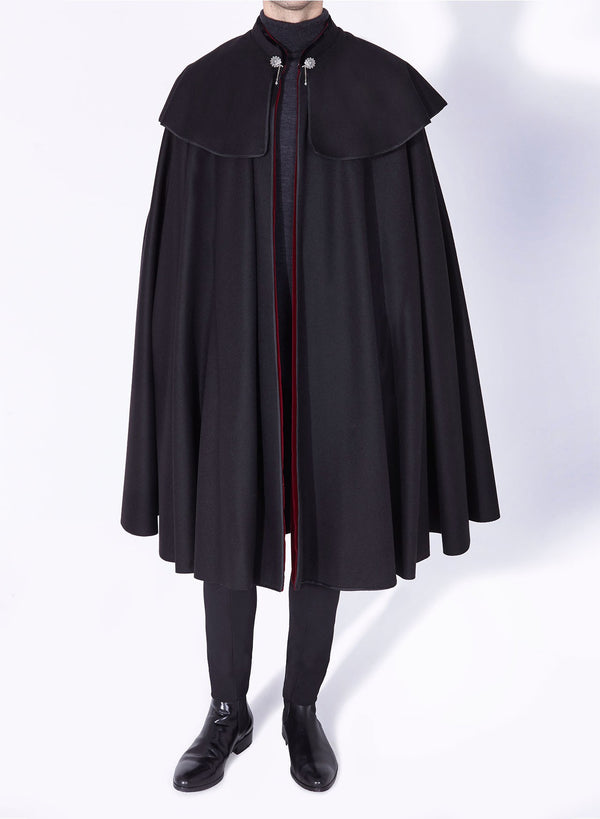 1901 CLOAK BLACK-BURGUNDY