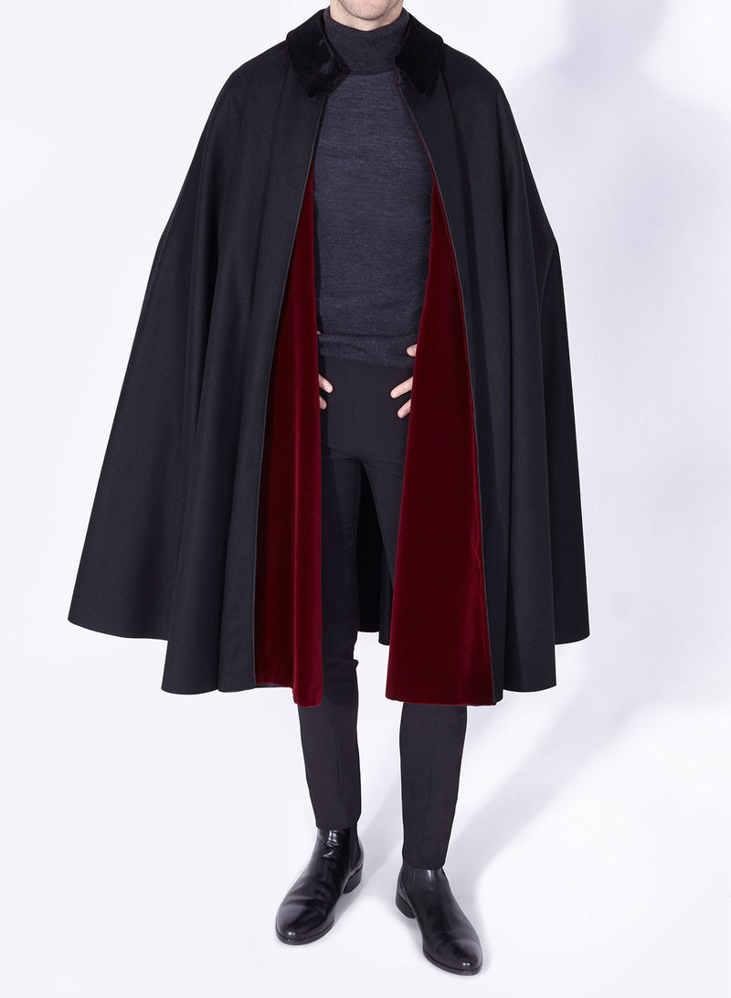 ALFONSO CAPE BLACK-BURGUNDY