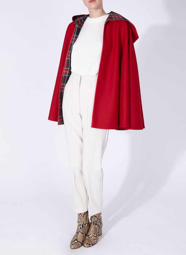 CHARLOTTE CAPE Red - Blue tartan