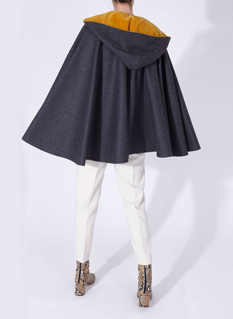 CHARLOTTE CAPE Grey - Yellow velvet