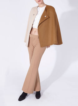 CLAUDIA CAPE CAMEL AND OFF-WHITE