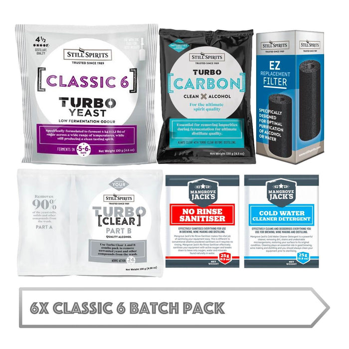 6x Classic 6 Batch Pack: 6x Still Spirits Classic 6 Yeast, 6x Turbo Carbon, 6x Turbo Clear, 6x EZ Filter, 6x Cold Water Detergent & 6x No-Rinse Sanitiser