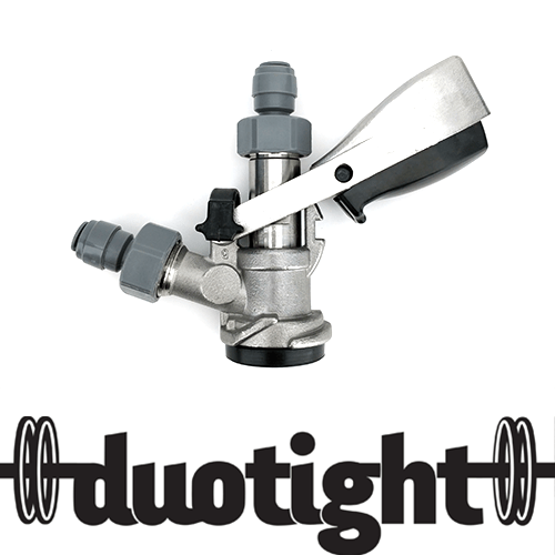 "D-Type Commercial Keg Coupler - Full Stainless Steel with Duotight 5/8"" to 8mm Push In"