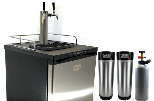 NEW: Kegmaster Series X Kegerator Double Tap PREMIUM BUNDLE 2x Taps with 2 New Kegs, Gas, Disconnects and Cleaners