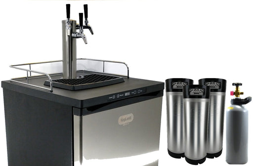 NEW: Kegmaster Series X Kegerator Triple Tap PREMIUM BUNDLE 3x Taps with 3 New Kegs, Gas, Disconnects and Cleaners