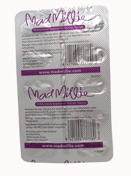 Mad Millie 4L Vegetarian Rennet (Tablet Strip x 10)