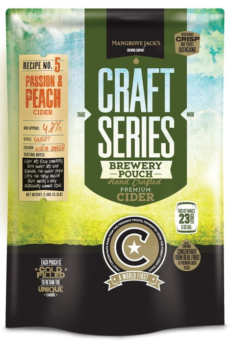 Mangrove Jack's Craft Series Peach and Passionfruit Cider 23L (shipping early December)